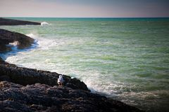 Paesaggio blu del mare, Puglia, Italia Fotografie Stock Libere da Diritti
