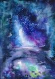 Paesaggio blu dell'acquerello Fotografia Stock
