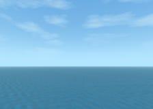 Paesaggio blu dell'oceano con il cielo nuvoloso blu illustrazione vettoriale