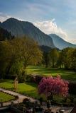 Paesaggio caldo in Tirolo, Austria della montagna di pomeriggio Fotografie Stock