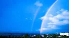 Paesaggio, cielo, arcobaleno, dopo pioggia, natura, buon tempo, immagine stock libera da diritti