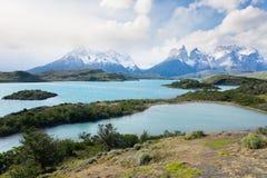 Paesaggio cileno di Patagonia, parco nazionale di Torres del Paine fotografia stock libera da diritti