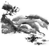 Paesaggio cinese con l'albero royalty illustrazione gratis