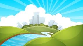 Paesaggio, città, fiume, nuvola, sole illustrazione di stock