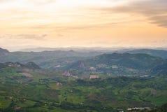Paesaggio collinoso dal topo di San Marino Immagine Stock Libera da Diritti