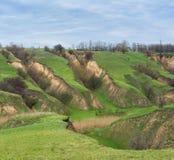 Paesaggio con erosione del suolo Immagine Stock