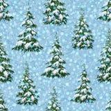 Paesaggio con gli alberi di Natale Fotografia Stock