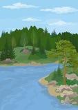 Paesaggio con gli alberi ed il fiume Immagini Stock