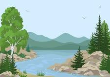 Paesaggio con gli alberi ed il fiume della montagna Immagine Stock