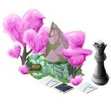 Paesaggio con gli alberi rosa, gli scacchi e la casa dell'ars topiaria illustrazione di stock