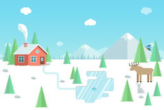 Paesaggio con gli animali selvatici, casa della foresta, montagne di inverno e Fotografie Stock
