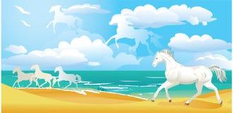 Paesaggio con i cavalli Fotografia Stock