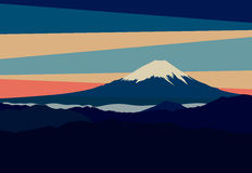 Paesaggio con i picchi di montagna nel Giappone Vista del monte Fuji Immagine Stock Libera da Diritti
