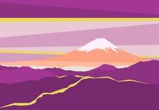 Paesaggio con i picchi di montagna nel Giappone Vista panoramica di sera del monte Fuji Illustrazione di vettore Immagini Stock