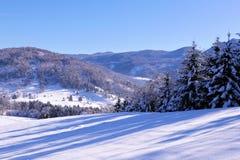 Paesaggio con i piccoli granai nell'orario invernale Fotografia Stock