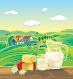 Paesaggio con i prodotti lattier-caseario illustrazione di stock