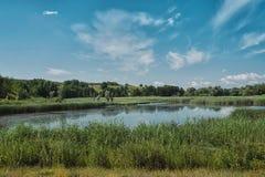 Paesaggio con il bello lago Fotografie Stock Libere da Diritti