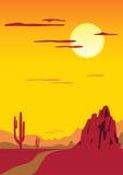 Paesaggio con il cactus Immagine Stock