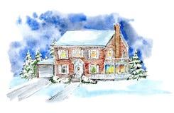 Paesaggio con il cottage nell'inverno Camera ed alberi di Natale Immagine Stock
