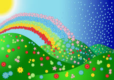 Paesaggio con il fiore ed il Rainbow Fotografia Stock Libera da Diritti