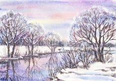 Paesaggio con il fiume congelato Immagine Stock Libera da Diritti