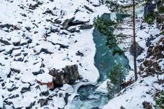 Paesaggio con il fiume della montagna di inverno Fotografia Stock Libera da Diritti