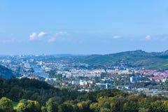 Paesaggio con il fiume il Neckar a Suttgart Fotografie Stock