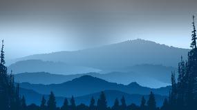Paesaggio con il fondo astratto delle montagne e dell'albero Immagini Stock