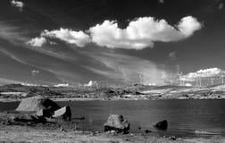 Paesaggio con il lago Immagini Stock