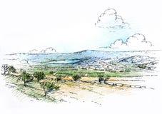 Paesaggio con il lago Immagine Stock