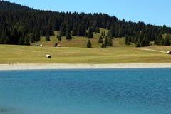 paesaggio con il lago alpino con chiara acqua Immagini Stock