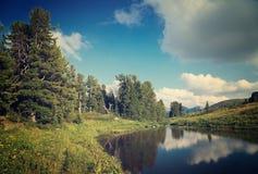 Paesaggio con il lago delle montagne Fotografie Stock Libere da Diritti