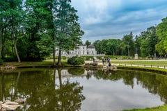 Paesaggio con il lago e gli alberi Fotografia Stock