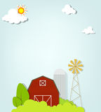 Paesaggio con il mulino a vento ed il silos rossi dell'azienda agricola Fotografia Stock Libera da Diritti