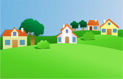 Paesaggio con il piccolo villaggio illustrazione di stock