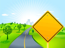 Paesaggio con il segnale stradale Fotografia Stock