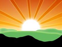 Paesaggio con il sole Fotografia Stock