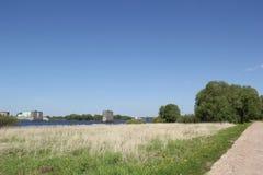 Paesaggio con il supporto del ponte Fotografie Stock