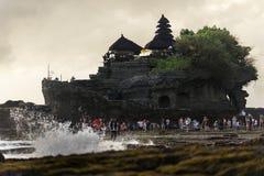 Paesaggio con il tempio del lotto di Tanah Fotografie Stock
