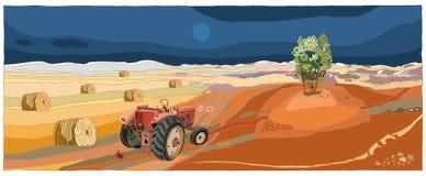 Paesaggio con il trattore Immagini Stock Libere da Diritti