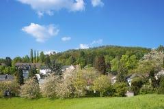 Paesaggio con il vecchio castello e il Battertfelsen in Baden-Baden Fotografia Stock