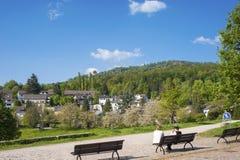 Paesaggio con il vecchio castello e il Battertfelsen in Baden-Baden Immagini Stock Libere da Diritti