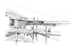 Paesaggio con il vecchio paesino di pescatori Fotografia Stock
