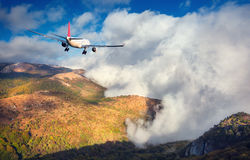 Paesaggio con l'aeroplano bianco del passeggero immagini stock libere da diritti