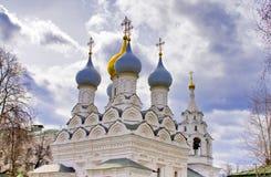 Paesaggio con la bella cattedrale a Mosca Immagine Stock