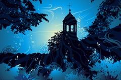 Paesaggio con la chiesa, vettore Fotografia Stock