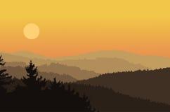 Paesaggio con la foresta delle siluette Fotografia Stock Libera da Diritti