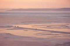 Paesaggio con la gente sulla superficie ghiacciata del mare congelato nella baia dell'Amur fotografia stock libera da diritti