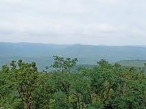 Paesaggio con la montagna, le nuvole e gli alberi immagine stock
