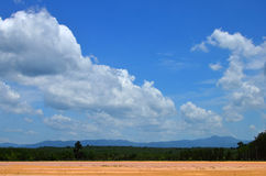 Paesaggio con la nuvola ed il cielo blu bianchi Immagine Stock Libera da Diritti